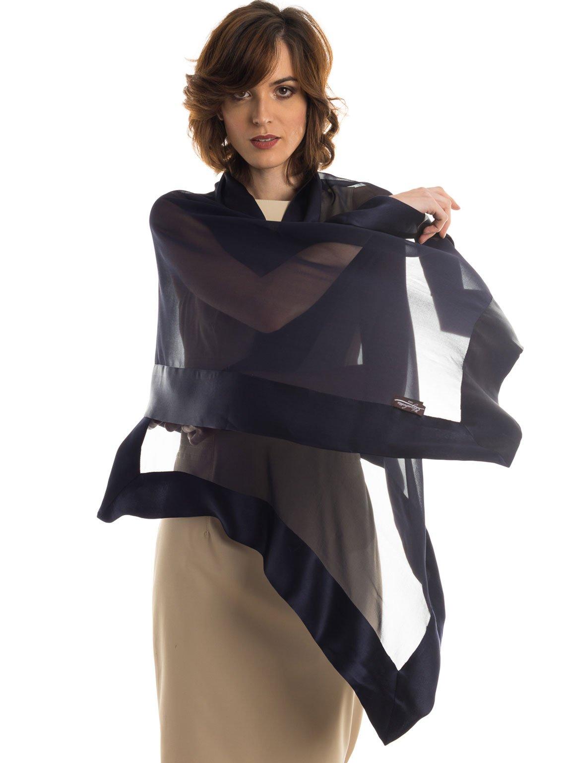 Elizabetta Womens Silk Scarf Wrap Shawl, Extra Large, Made in Italy (Navy Blue)