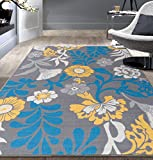 Modern Large Flowers Non-Slip (Non-Skid) Area Rug 8 x 10 (7′ 10″ x 10′) Gray Review