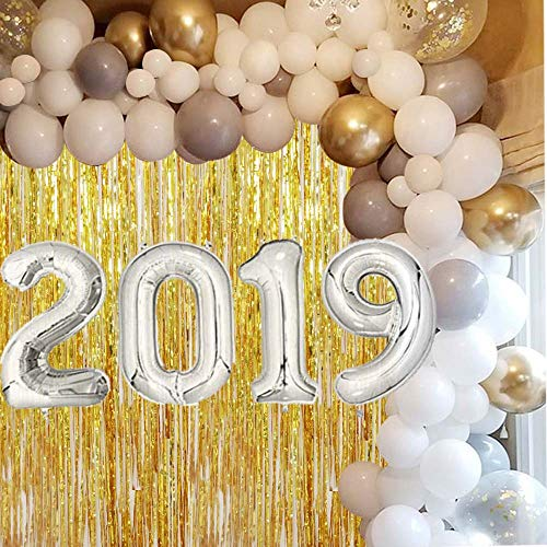 Graduation Party Supplies 2019 Balloons Sliver with DIY Balloon Garland Arch Kit-White,Silver,Chrome Gold,Gold Confetti Latex Balloons for College Universty Graduation,Prom Party as Backdrops -