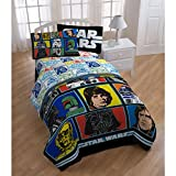 5 Piece Kids Star Wars Themed Comforter Twin Set, Classic Movie Bedding for Star Wars Fans Featuring Darth Vader, R2D2, Luke Skywalker, Grid Pattern, Original Trilogy + Yoda Pillow Doll