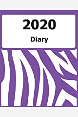 "2020 Diary: (Purple Zebra Pattern Cover) - 8"" x 10"" - Months, Important Dates, Weekly Planner - Simple layout. Large Print. Easy to use for visually impaired Paperback"