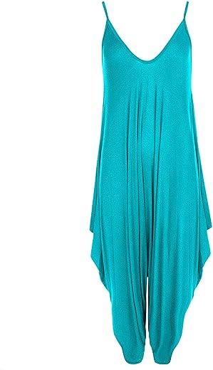 GirlzWalk Women Lagenlook Cami Strappy Baggy Harem Jumpsuit Dress