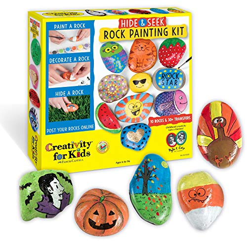 Art Craft Ideas (Creativity for Kids Hide & Seek Rock Painting Kit - Arts & Crafts For Kids - Includes Rocks & Waterproof)