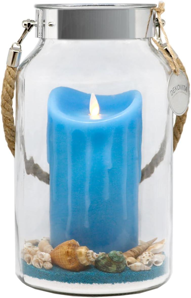 DEKOVITA Idea para Regalo 30cm Decoglass LED Vela de Cera Azul Real con Llama en Movimiento y Deco-Sand Pascua Cumpleaños Día de la Madre