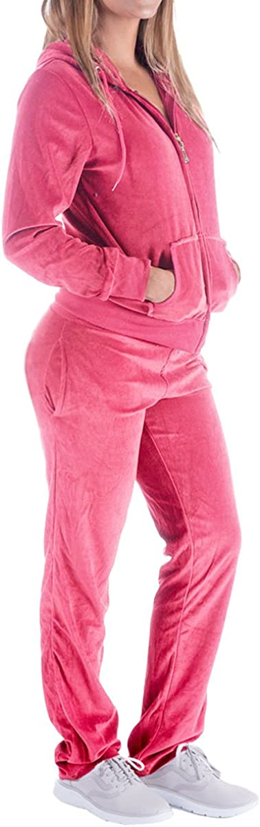 Womens 2 Piece Outfits Velvet Zip Hoodie Sweatshirt /& Sweatpants Sweatsuits and Velour Tracksuit Sets Jogging Suit