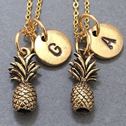 Best friend necklace, pineapple necklace, food necklace, bff necklace, sister, friendship jewelry, personalized necklace, initial, monogram