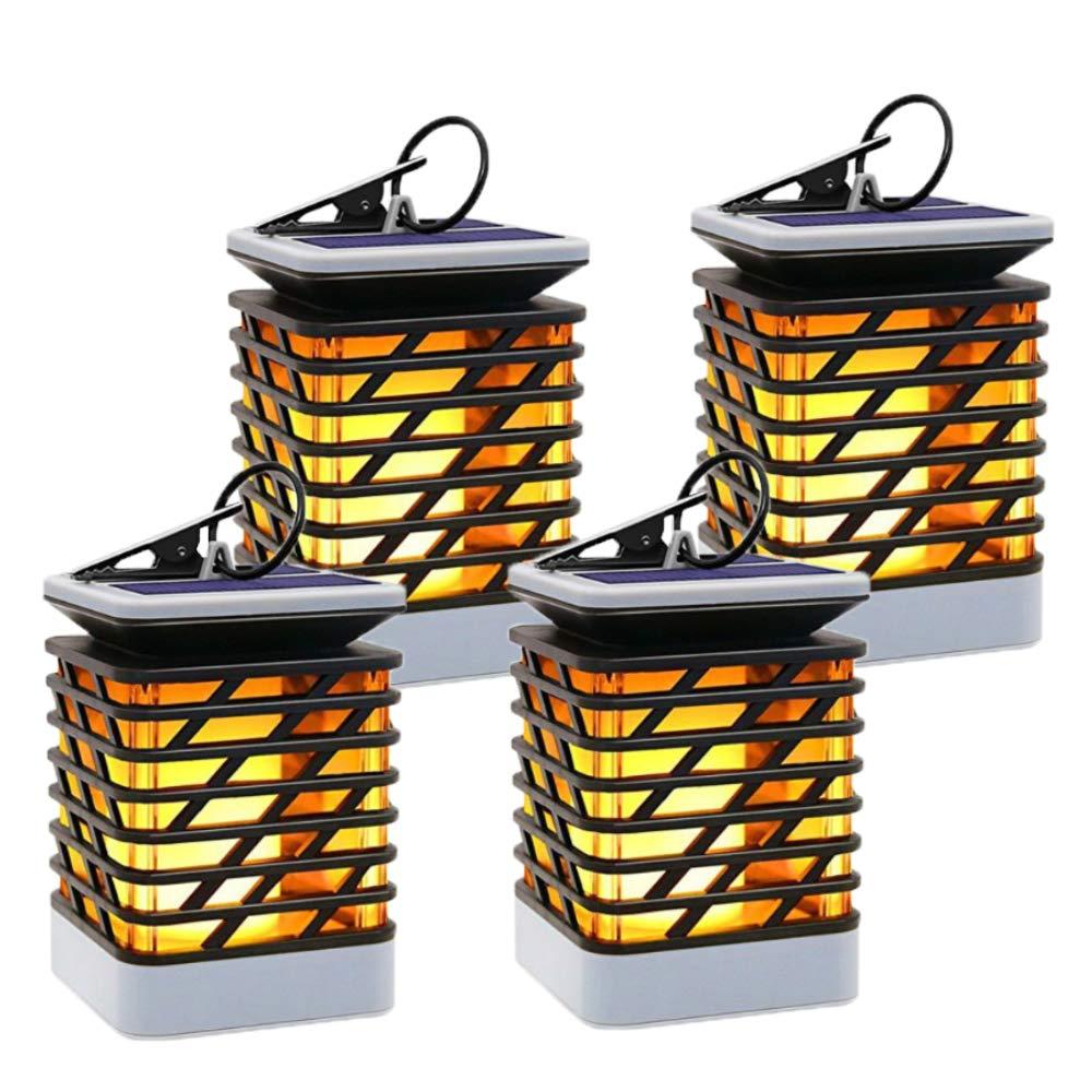MakeABC Solar-Flame-Light Waterproof Solar Powered Flame Lights for Garden Landscape Dancing Flickering Outdoor-Hanging-Lantern (Pack of 4)