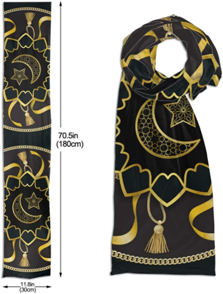 Cotton Scarves F Mens And Women Winter Fashion Scarf Arabic Golden Luxury Pattern On Black Background Vector Long Plain Warm Soft Scarves For Men