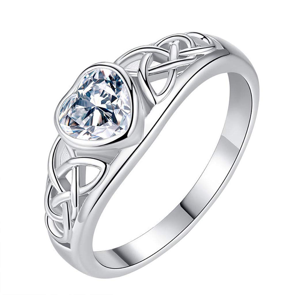 Amazon Com Engagement Rings Adjustable Ring Mother S Day Gift Women Simple Heart Set With Zircon Diamond Ring Love Shaped Openwork Ring Beauty