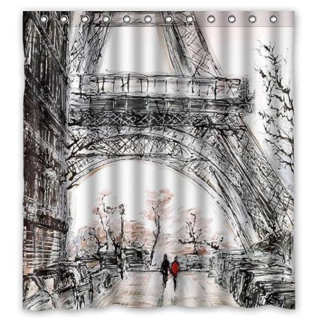 Eco Friendly Abstract Watercolor Vintage Paris Eiffel Tower Art