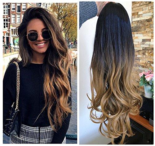 24 Inches Long Wavy Curly Clip in Ombre 3/4 Half Head Wig DL (Wavy-Black to dark blonde)
