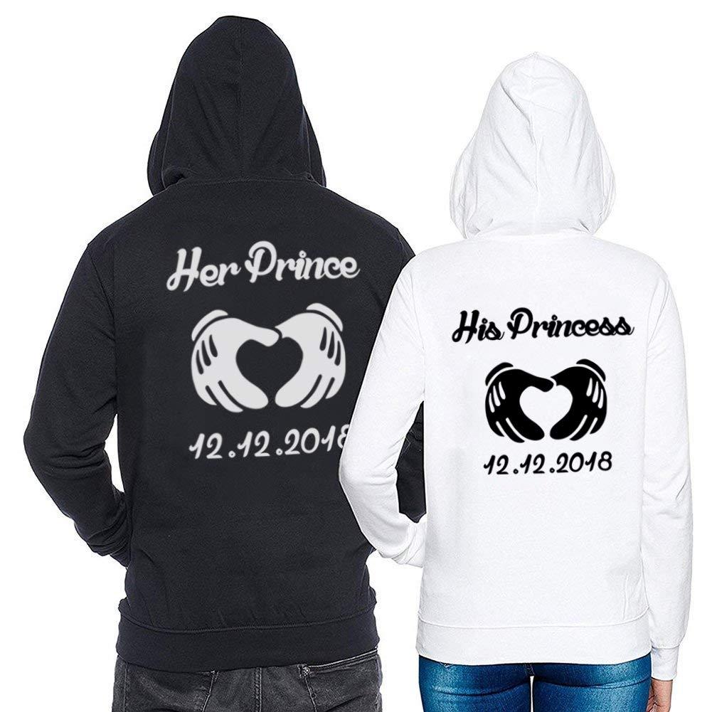 King queen shirts shirts shirts Pärchen Pullover Set Prince Princess Für Paar Kapuzenpullis Couple Hoodie Geschenk Idee Schwarz Weiß 2 Stücke B07GP21S13 Kapuzenpullover Zuverlässiger Ruf 5fc0b2