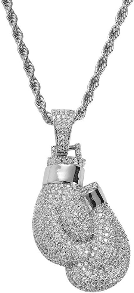 FATRWO Micro-Inlaid Zircon Necklace European and American Hip-Hop Personality Boxing Gloves Pendant,Mens and Womens Pendant Jewelry