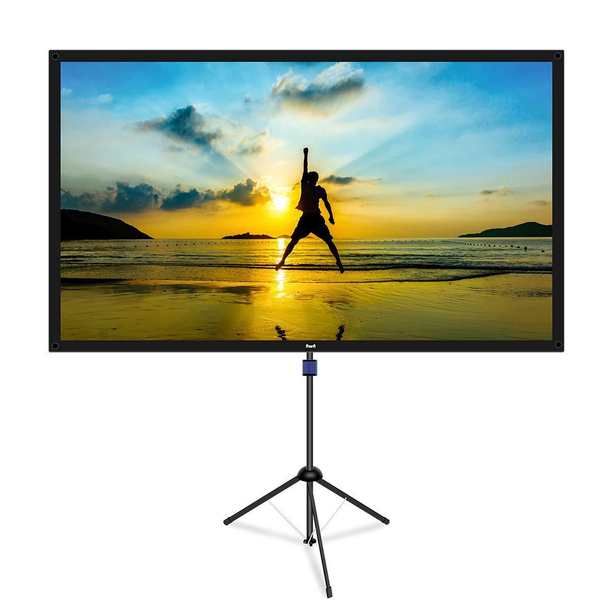 改良新版 4K対応 プロジェクタースクリーン (ガラス繊維材料) 自立式 携帯型 三脚式 屋内屋外兼用 最大80型 16:9 視野角160° 防しわ加工 お手入れ簡単 (価格は品質に等しいます) 80型(三脚式)  B07MVYCRGP
