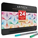 Arteza Fineliner Fine Point Pens, Fine Tip Coloring Markers, 24 Assorted Colors (0.4mm Tips, Set of 24)