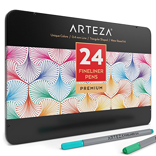 (Arteza Fineliner Fine Point Pens, Fine Tip Coloring Markers, 24 Assorted Colors (0.4mm Tips, Set of 24))