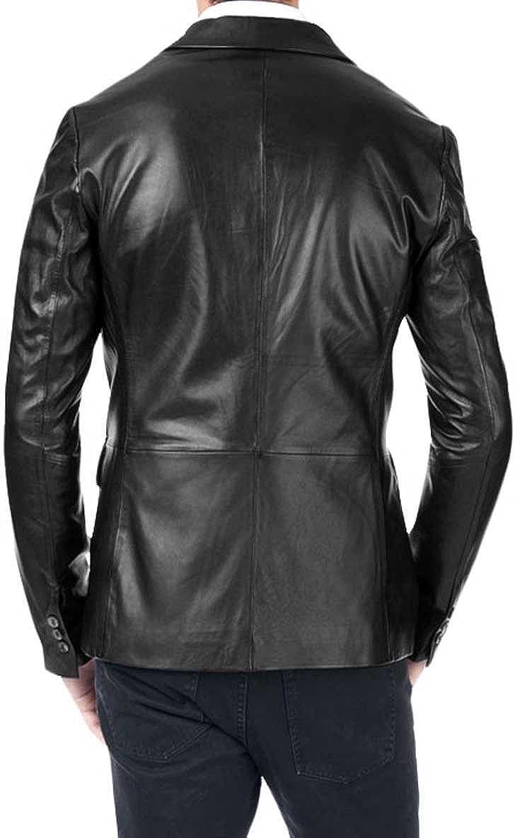Travel Hide Mens Leather Blazer Two Button Genuine Lambskin Blazer Coat TB012