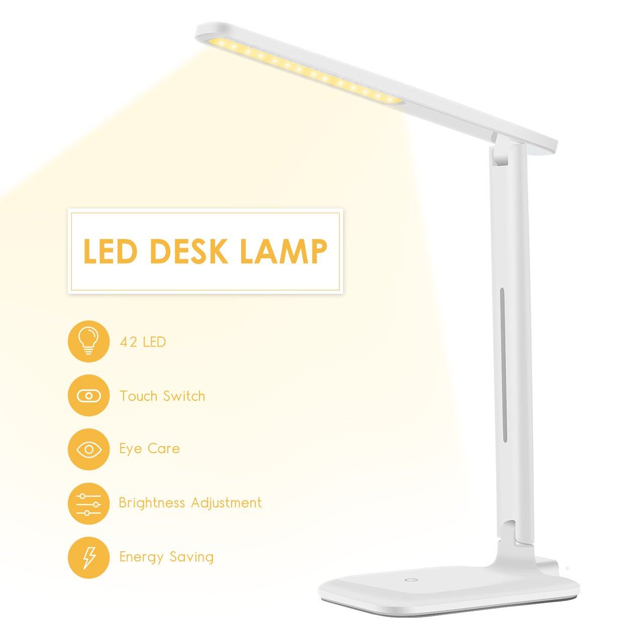 Yantop LED Desk Lamp, Eye-caring Table Lamp, Dimmable Office Study Computer Desk Light, Touch Control, Memory Function, 3 Color Mode & 3 Brightness, Foldable LED Lamp for Reading, Working, White