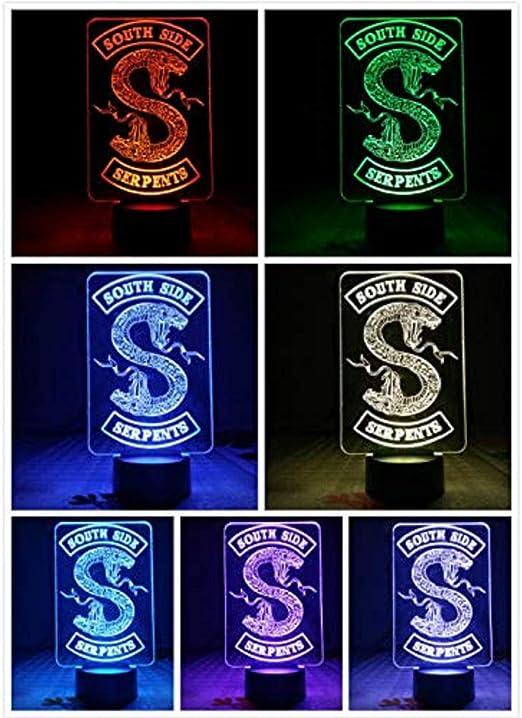Logotipo De La Serpiente Lámpara De Mesa Dormitorio Decoración Sensor Táctil 7 Cambio De Color Riverdale Southside Serpentes Luz Nocturna Led Mujeres: Amazon.es: Iluminación