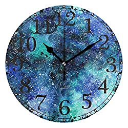 Wall Clock Blue Purple Galaxy Night Universe Round Acrylic Clock Black Large Numbers Silent Non-Ticking 9.45 Clock Decorative Retro Battery Operated Clock for Home School Hotel Library