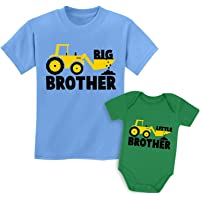 Quafoo Big Brother Little Brother Shirts Tractor Loving Boys Siblings Set