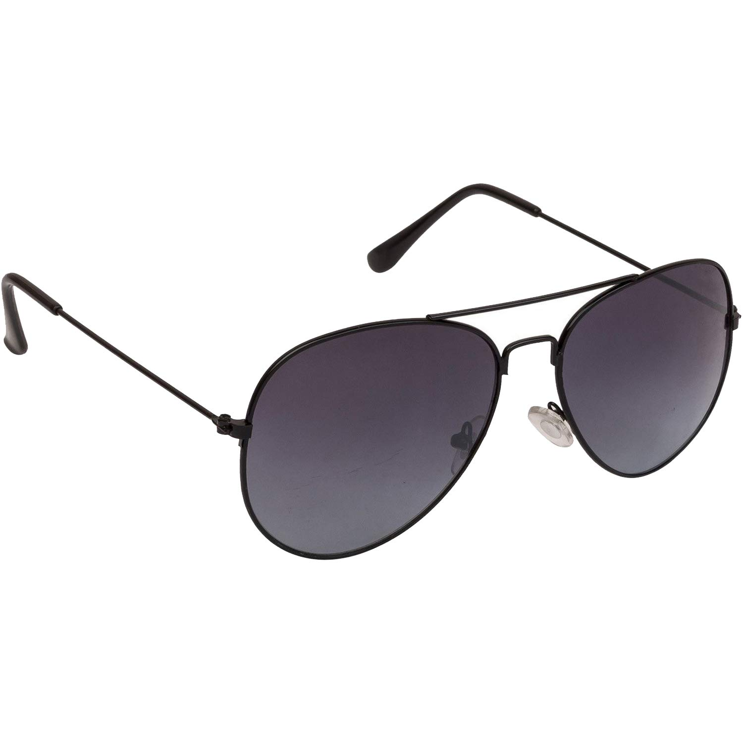 d0fc27fc25 Dervin Black Lens Black Frame Aviator Sunglasses for Men and Women  Amazon. in  Clothing   Accessories