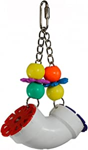 """Super Bird Creations SB751 PVC Forager Bird Toy with Colorful Birds & Flowers, Large Size, 3"""" x 5"""" x 8"""""""