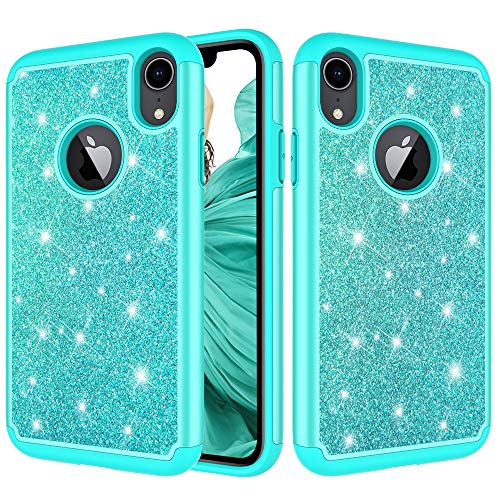 iPhone XR Case,ZERMU 2in1 Dual Layer Slim Fit Luxury Glitter Pretty Hard Shell Hybrid Thin Soft Rubber Bumper Bling Sparkly Shining Fashion Style Case for iPhone XR 6.1 inch (2018)