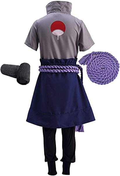 OURCOSPLAY Naruto Uchiha Sasuke Mens Cosplay Costume 5Pcs Include Wristbands Rope