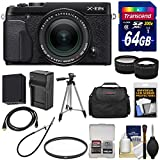 Fujifilm X-E2S Wi-Fi Digital Camera & 18-55mm XF Lens (Black) with 64GB Card + Battery & Charger + Tripod + Case + Tele/Wide Lens Kit