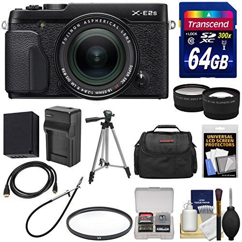 Fujifilm X-E2S Wi-Fi Digital Camera & 18-55mm XF Lens (Black) with 64GB Card + Battery & Charger + Tripod + Case + Tele/Wide Lens Kit