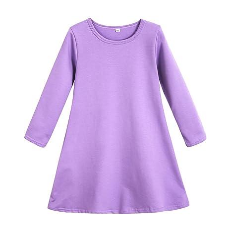 feiXIANG Bebé recién Nacido Ropa de niña Vestido de Manga Larga Vestido de algodón Color sólido