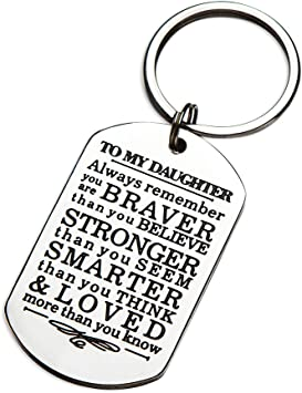 to My Daughter Back to School Inspirational Gifts Keychain from Dad Mom Birthday Gifts for Teen Girls Boys Always Remember You are Braver Than You Believe First Day of School Motivational Gifts