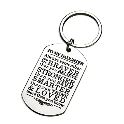 Inspirational Keychain Gifts to My Son Daughter Always Remember You are  Braver Than You Believe Key Ring Charm Family Gifts from Dad Mom Graduation