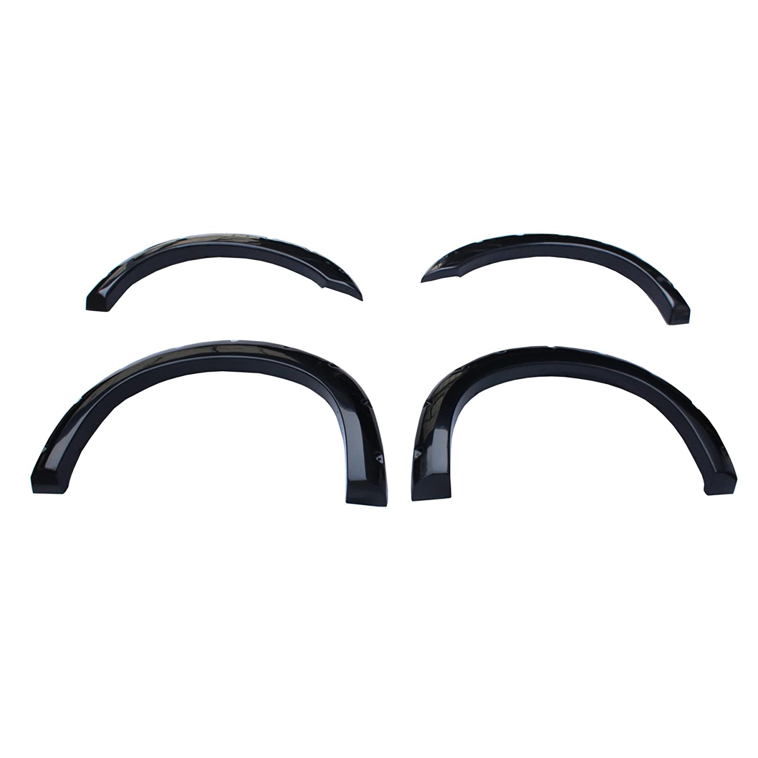 F350 Super Duty CAREPAIR 4pcs Front and Rear Smooth Black Aftermarket Pocket Riveted ABS Fender Flares for 1999-2007 Ford F250
