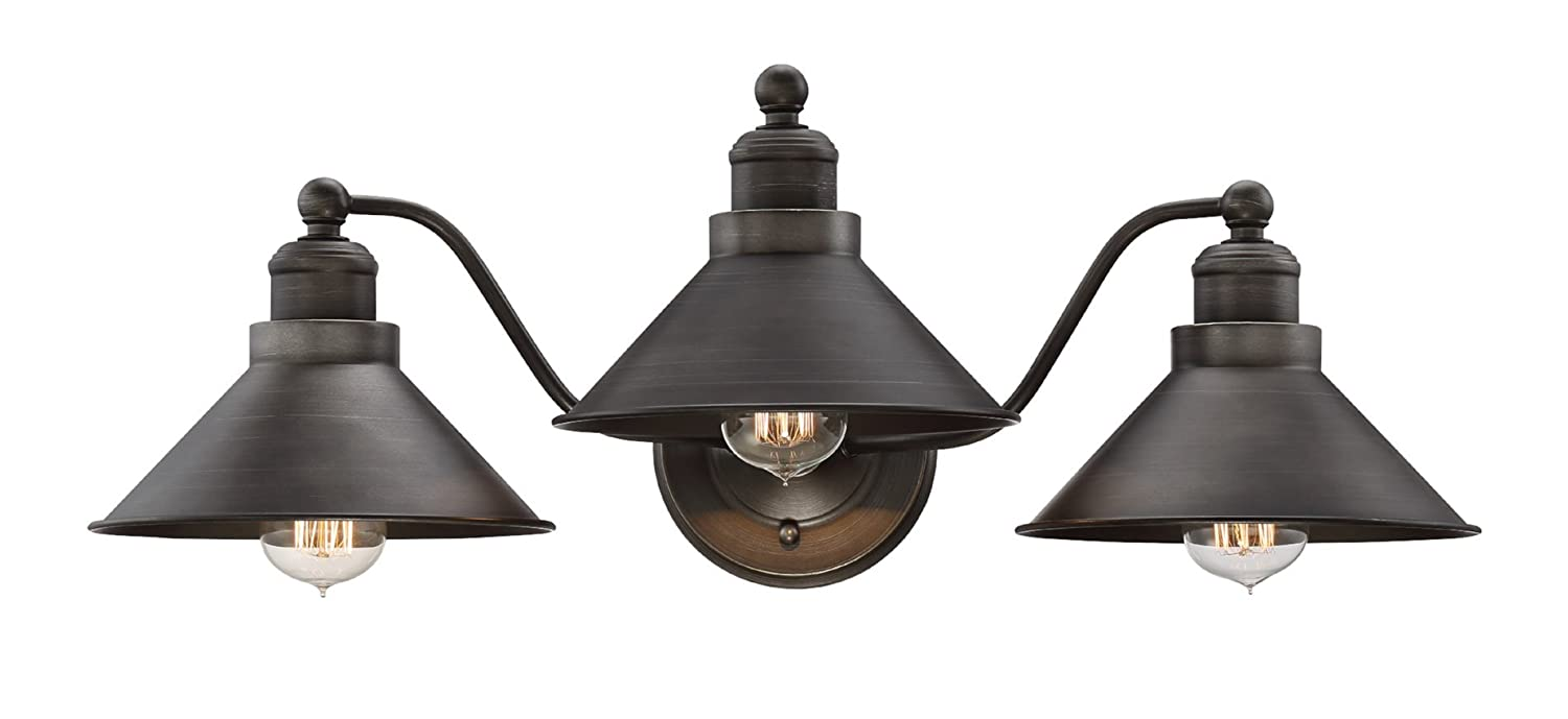 "Kira Home Welton 25.5"" Modern Industrial 3-Light Vanity/Bathroom Light, Brushed Dark Industrial Bronze Finish"
