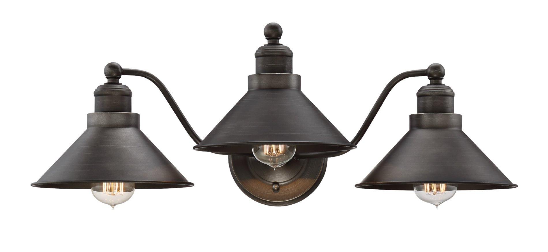 Revel Welton 25.5'' Modern Industrial 3-Light Vanity / Bathroom Light, Brushed Dark Bronze Finish by Revel