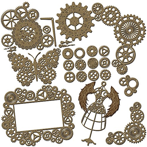 Steampunk Scrapbook Embellishments Collection #2 - 25 Piece Laser Cut Chipboard Set by Creative Embellishments