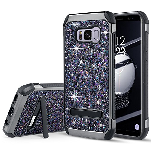 UARMOR Case for Samsung Galaxy S8 Plus / Galaxy S8+, Luxury Glitter Bling Rugged Shockproof Dirtproof Stand Hybrid Slim Sparkle Shiny Faux Leather Chrome Hard Case Cover, - Case Cover Chrome