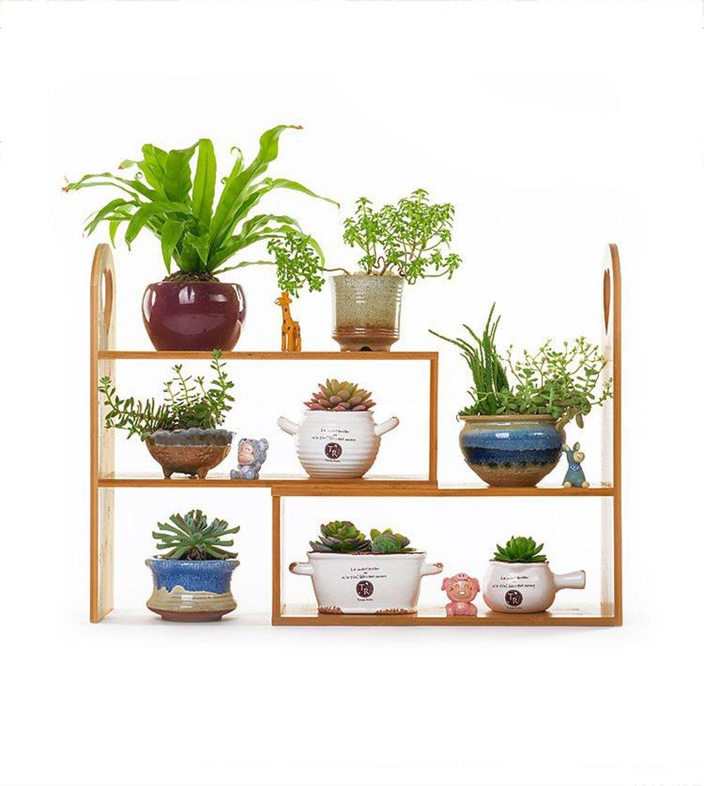 Flower Stand TYCGY Creative Bay Window Sill Wood Desktop Mini Multi-layer Storage Shelf Bamboo