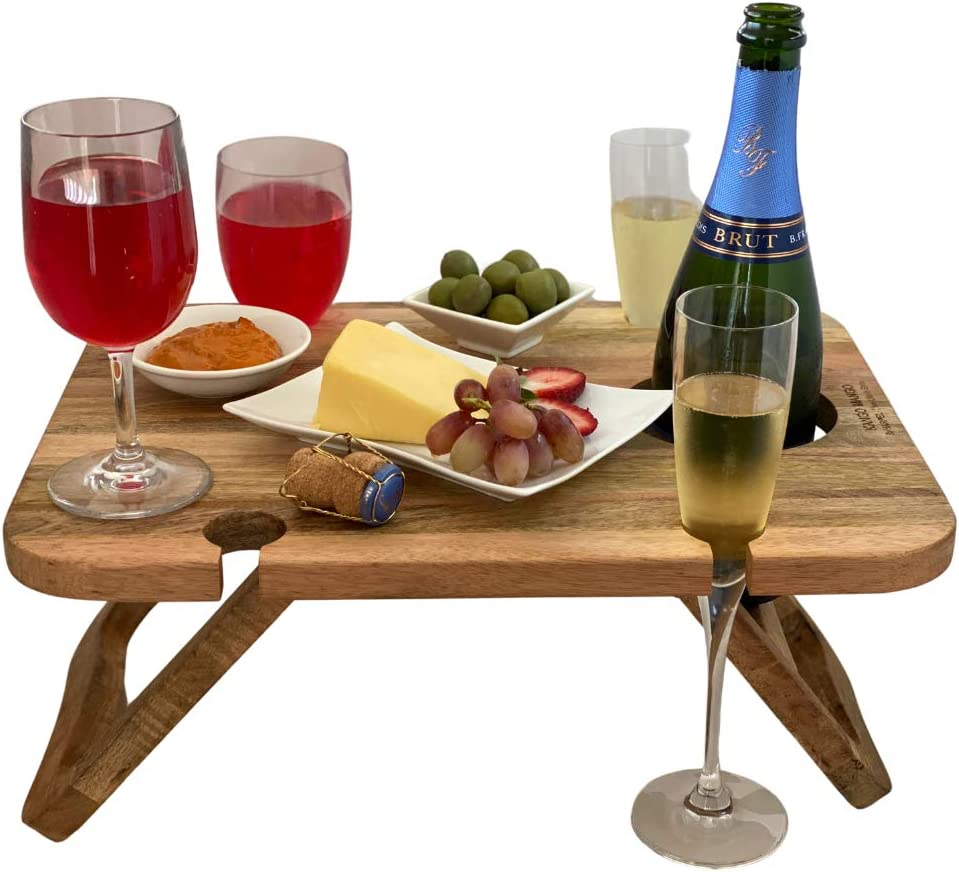 Handmade wine table with bottle and glass holders Natural oak wine table Folding wine table Wine glass holder Perfect winelover gift