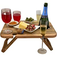 Kango Mango Portable Folding Wine and Champagne Picnic Table - for Wine Lovers, Stylish Mini Picnic Table for Outdoors…