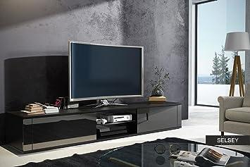 Elegant Meuble TV Avec Noir Mat Brillant