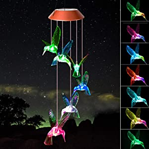 ShangTianFeng Red Color Hummingbird Gift Solar Wind Chimes Garden Gifts for mom Birthday Gifts Gifts Grandma Birthday Gifts mom Gifts from Daughter Birthday Gifts for Women Interesting Finds