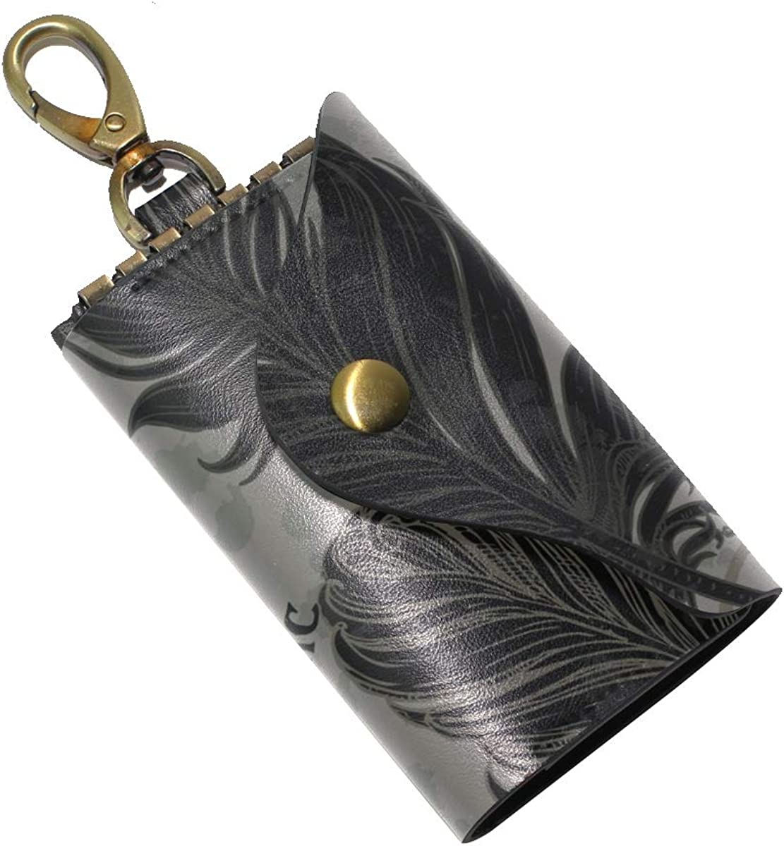 KEAKIA Bird Feathers Leather Key Case Wallets Tri-fold Key Holder Keychains with 6 Hooks 2 Slot Snap Closure for Men Women