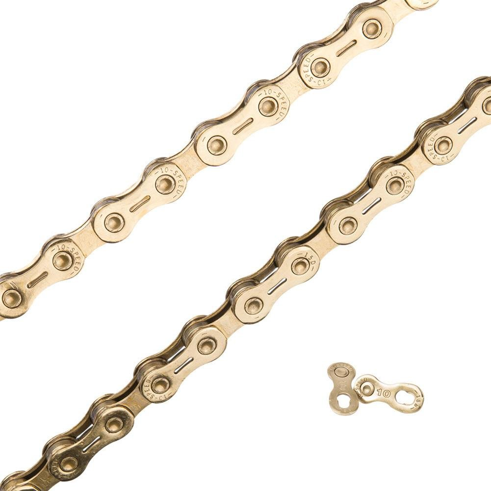 feiledi Trade Anti-Rust Bicycle Chain 10 Speed Golden Half Cutout Gold