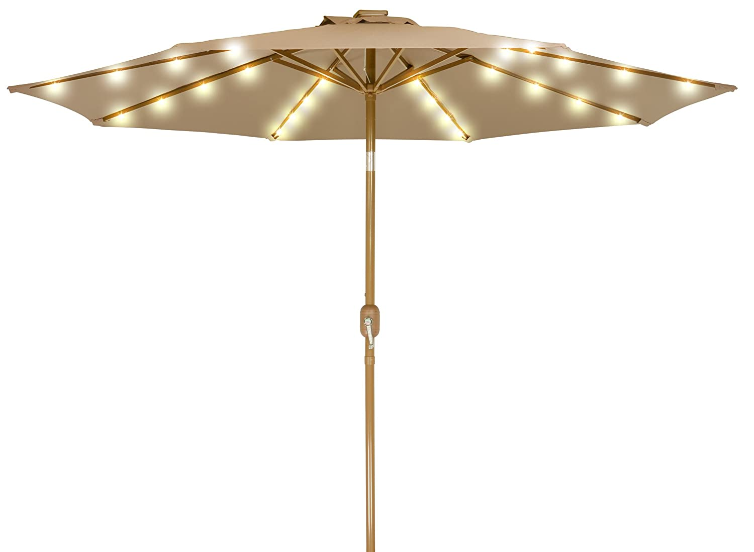 Home Comfort 9 Solar Powered LED Lighted Patio Umbrella with Bronze Finish Frame Tan