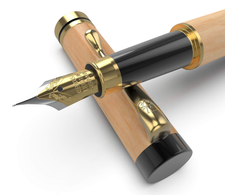 Wordsworth & ~ Bläck - Pluma estilográfica de madera de lujo con caja de regalo, 100% hecho a mano, diseño vintage, ideal para negocios y regalo antiguo, tinta de caligrafía Wordsworth & Bläck
