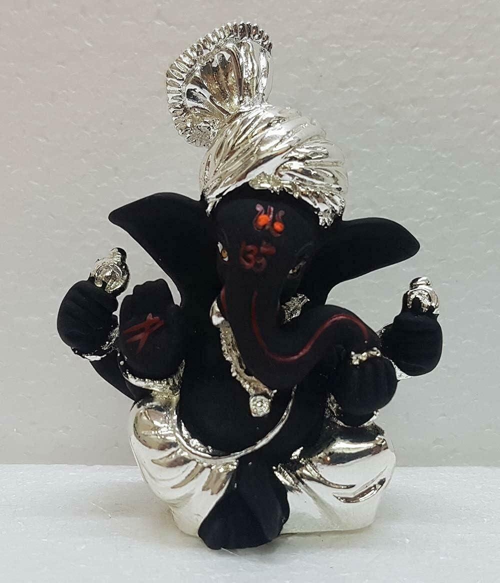 Sawcart Pagdi Ganesh / Ganpati / Ganesha Silver Plated Terracotta Puja Idol Figurine Sculpture Hindu God of Success, Prosperity, Good Luck for Car Dashboard, Temple & Home Décor (Black)