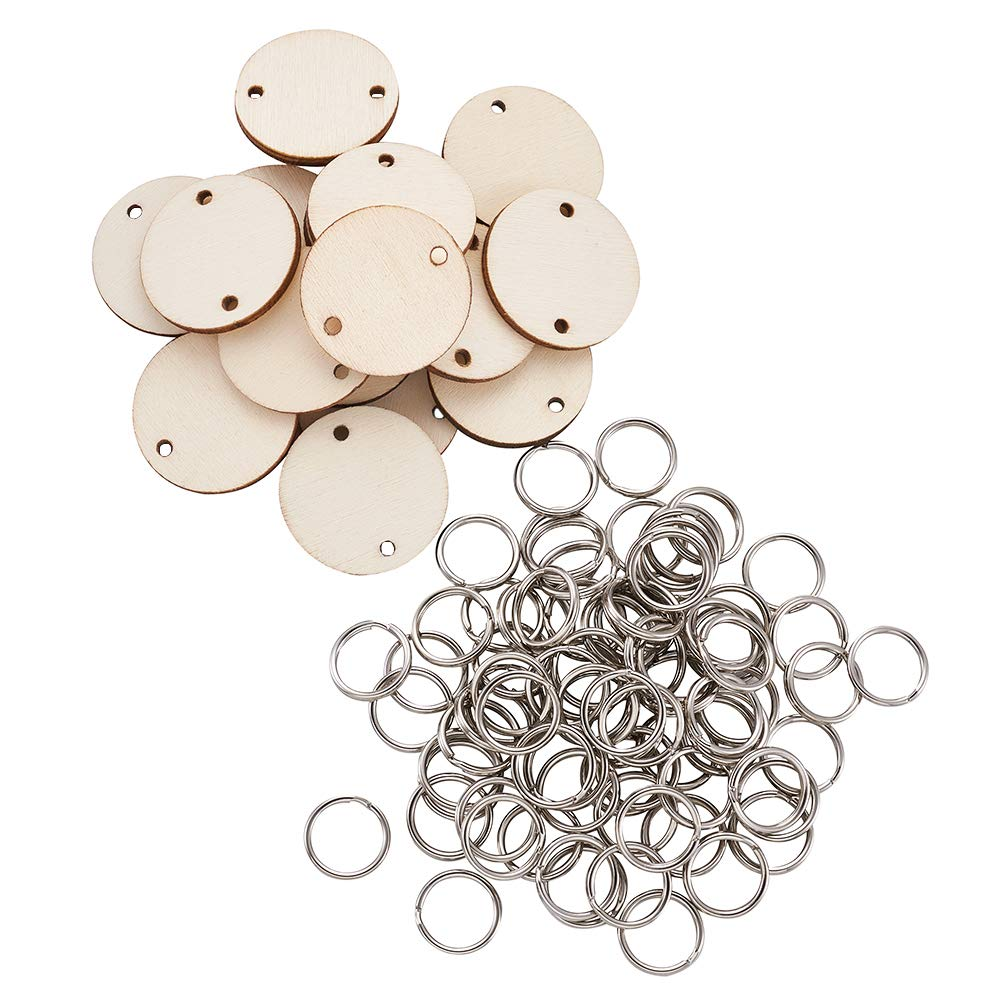 Beadthoven 1Set//200pcs 30x2.5mm Flat Round and Heart Shape Wooden Discs Circle Tags with Holes and 27x12x2mm 304 Stainless Steel S Hook Findings for Birthday Boards Valentine DIY Jewelry Making